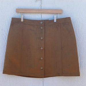 Light Brown Faux Suede Button Skirt